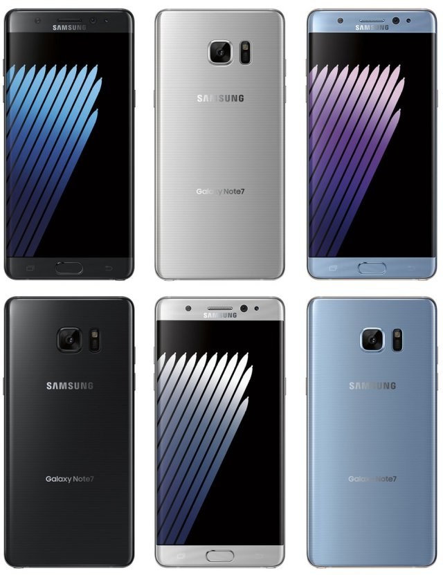 Samsung Galaxy Note 7 3 Colours