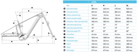 """Avec, en taille L, un empattement qui dépasse allègrement les 1300mm et des bases de 490mm et un reach finalement """"contenu"""" pour la Forward Geometry, le Mondraker Level est long, très long, sur le papier !"""