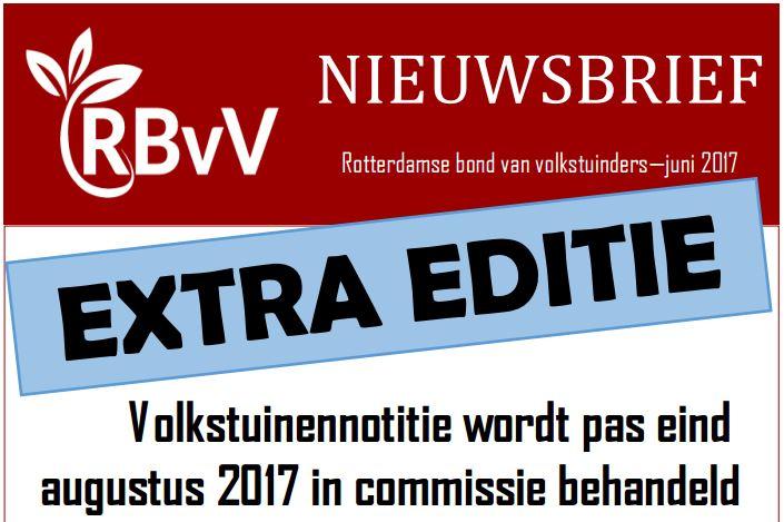 Volkstuinennotitie wordt pas eind augustus 2017 in commissie behandeld