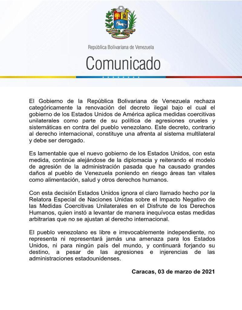 Venezuela rechaza renovación de decreto ilegal bajo el cual EE.UU. aplica medidas coercitivas unilaterales contra la nación