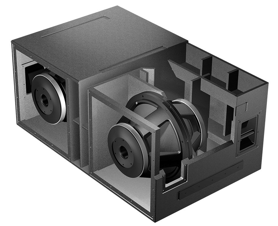 isobaric subwoofer design vue audiotechnik  as 418 cut a way illustration
