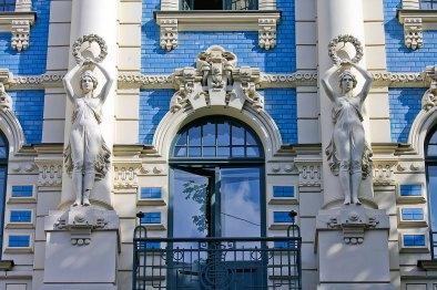 Jugendstil, famosa casa en la capital Letona Riga. Foto depositphotos© jorisvo