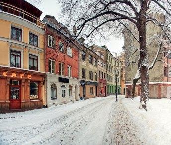 Calle del casco antiguo en invierno, Riga — Foto depositphotos © JuliaSha