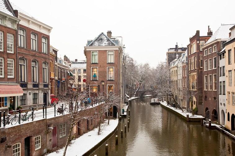 El Canal Oudegracht en invierno.