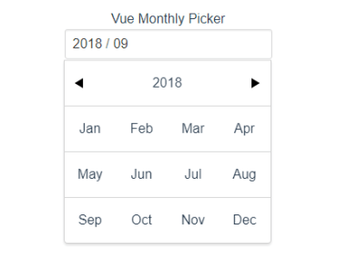 VueJS Monthly Picker Component