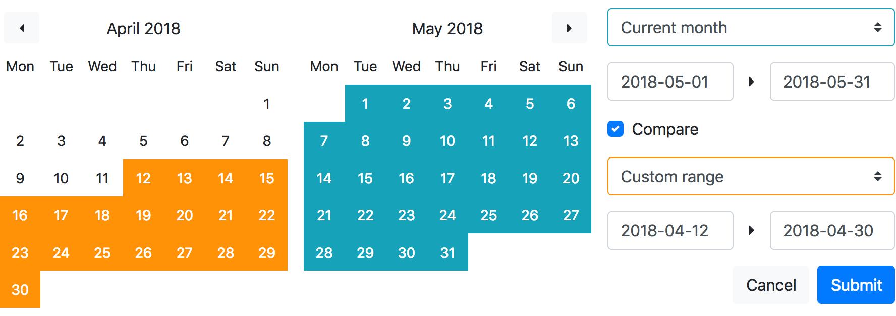 Bootstrap 4 Date Range Picker For Vue js - Vue js Script