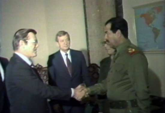 Rumsfeld, President Reagan's Envoy, offers Saddam military support.