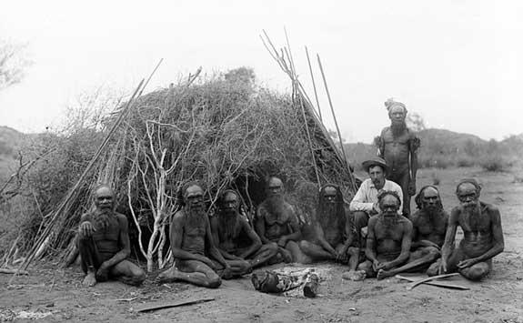 Arrernte (Arunta) Tribal Men with Spencer, 1896, Alice Springs