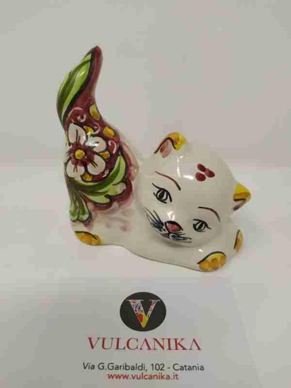 Gattino in Ceramica di Caltagirone dipinta a mano