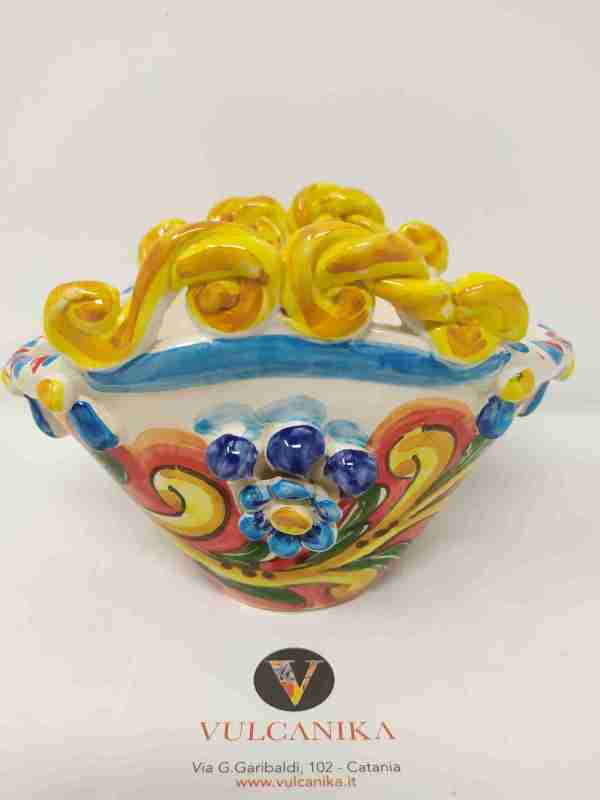 Coffa Siciliana in Ceramica di Caltagirone dipinta a mano