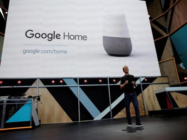 Mario Queiroz, vice president of product management at Google, introduces Google Home during the Google I/O 2016 developers conference in Mountain View, California, U.S. May 18, 2016. REUTERS/Stephen Lam