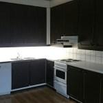 Keittiössä tiskkikone ja jääviileäkaappi