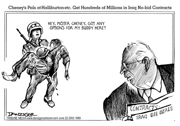 Cheney, Halliburton, and soldiers dying in Iraq, cartoon