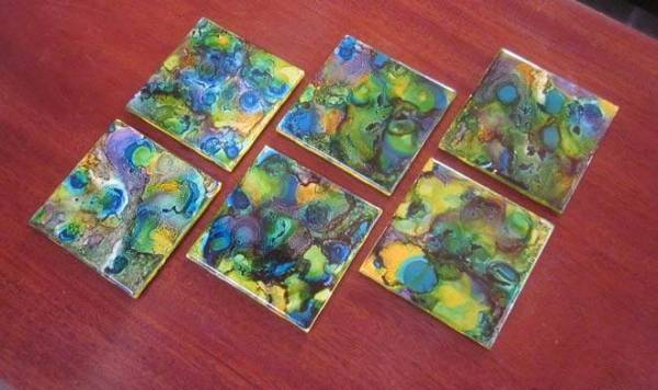 DIY alcohol ink coasters and light switch covers