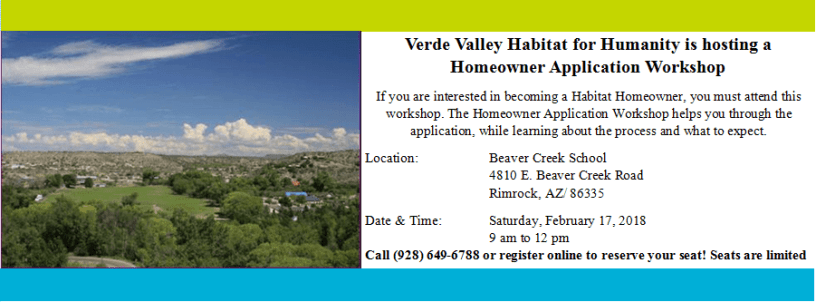 Rimrock Homeowner Application Workshop February 17, 2018