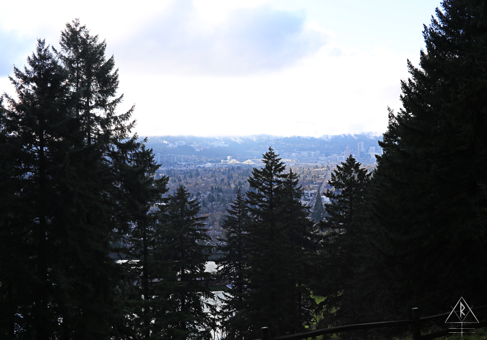 Portland, Oregon, built water reservoirs on-site in Mt. Tabor between 1894 and 1911, visible through the deciduous overstory sloping down the hillside.