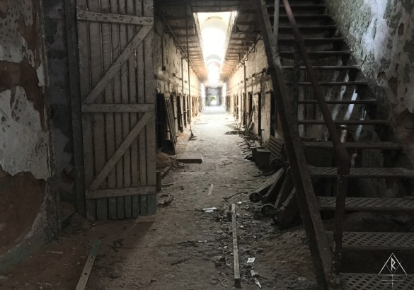 An abandoned and derelict wing in the Eastern State Penitentiary in Philadelphia, Pennsylvania.
