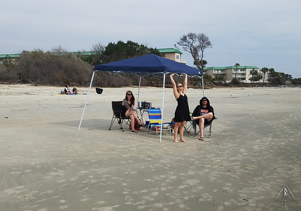 My pack of degenerate fools on the beach at St. Simons Island, Georgia.