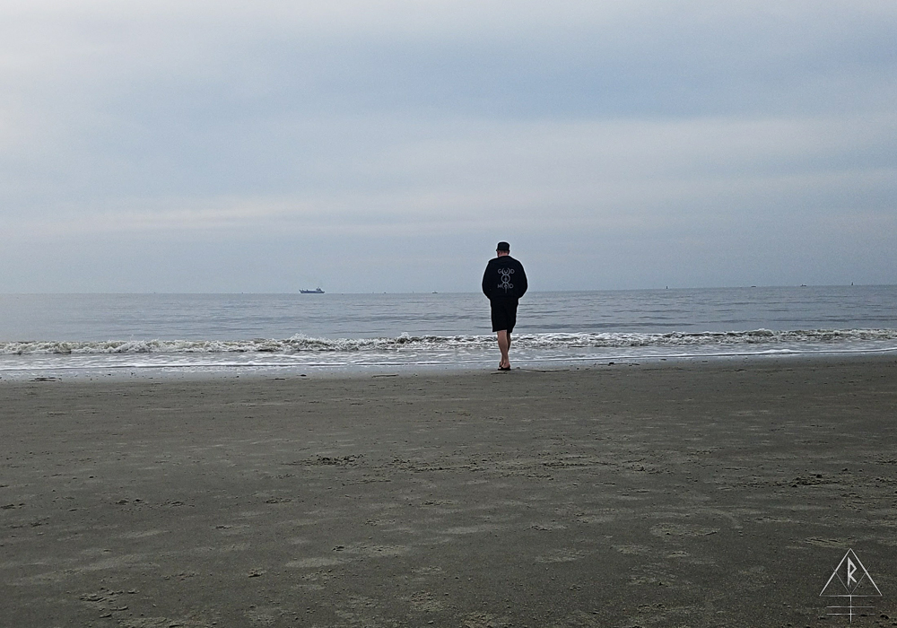 A glimpse of our view for the weekend; an overcast ocean with quiet waters on the St. Simons Beach, Georgia.
