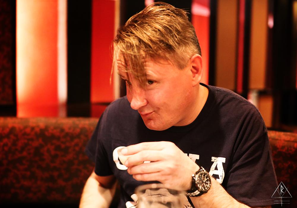 Alan demonstrates the proper Robert Smith hair flip over sake at Nami, in Toronto, Canada.