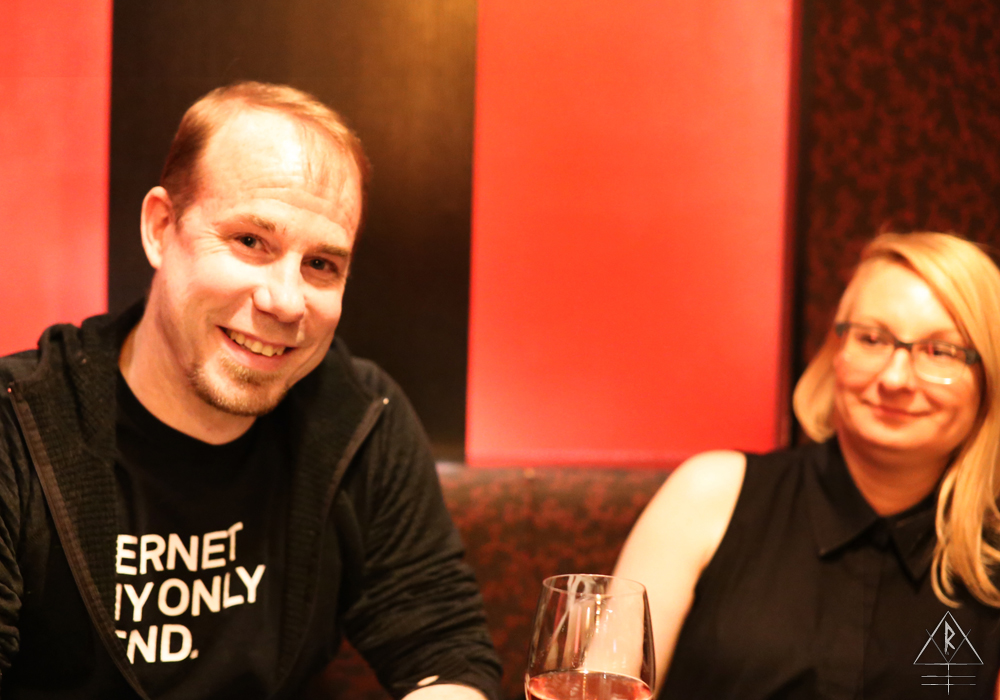 Our hosts DJ Todd from Real Synthetic Audio and his wife Melanie over sushi at NAMI, Toronto, Canada.