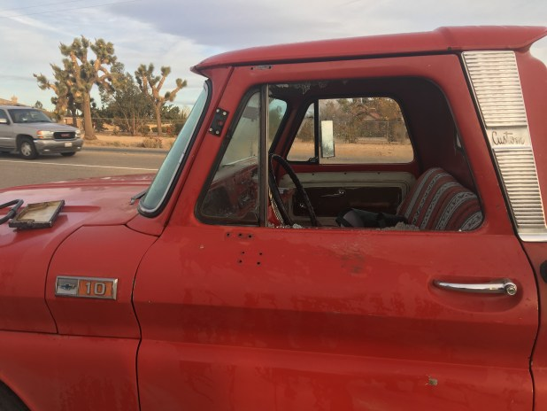 The glass window was shattered during the accident. (Hugo C. Valdez, Victor Valley News)