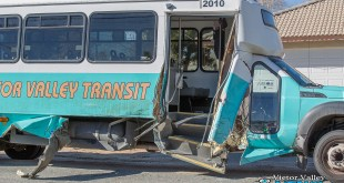 A bus and a van both sustained major damage after crashing Tuesday morning. (Gabriel D. Espinoza, Victor Valley News)