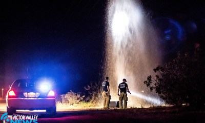 A Victorville Sheriff's Deputy discovered a water geyser shooting approximately 30 feet into the air while en route to a separate call. (Gabriel D. Espinoza, Victor Valley News)