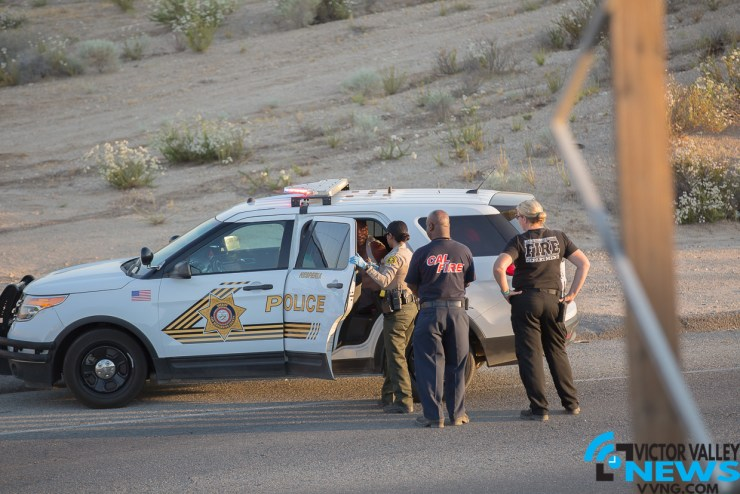 Deputy E. Demara detained the suspect who was accused of arson. (Hugo C Valdez, Victor Valley News)