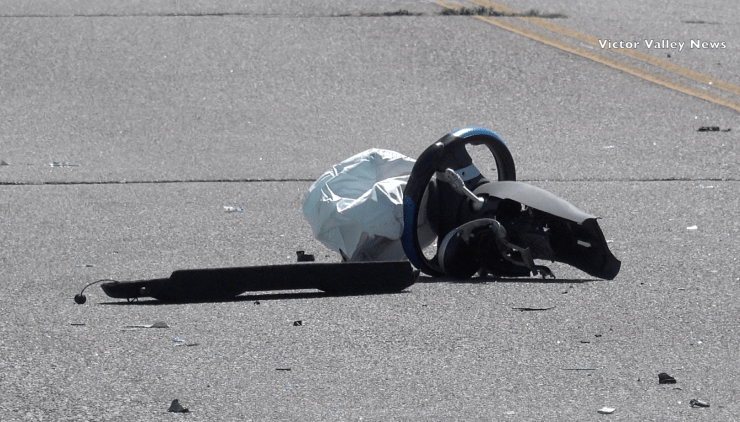 The steering wheel of the Mini Cooper detached upon impact of the accident. (Hugo C. Valdez, Victor Valley News)