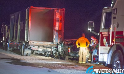 The driver of a pickup truck died after crashing into the rear of a big rig Thursday night. (Gabriel D. Espinoza, Victor Valley News)