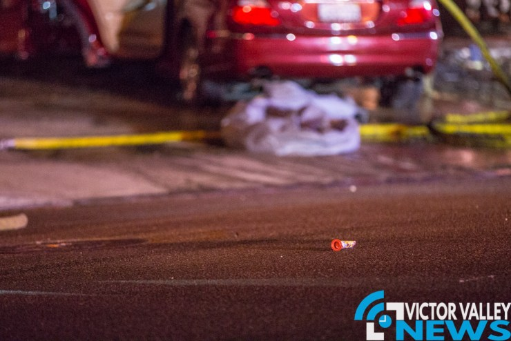Evidence of a previously used firework remained in the street near the car that caught fire. (Gabriel D. Espinoza, Victor Valley News)