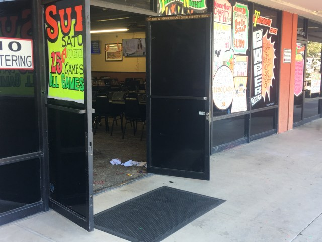 The gunshot victim collapsed near the front entrance of the Bingo Hall. (Hugo C. Valdez, Victor Valley News)