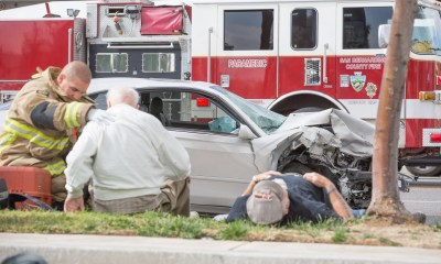 Two vehicles were involved in a head-on crash that injured three people. (Gabriel D. Espinoza, Victor Valley News)