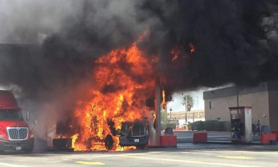 A semi truck caught fire at a gas pump in Lenwood. Photo courtesy Anthony Riley, Barstow City Spokesman.