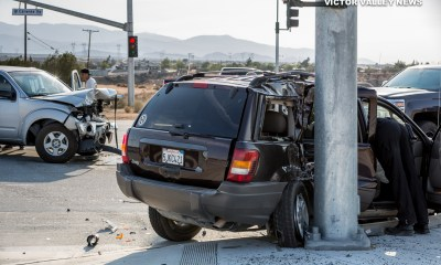Two vehicles sustained major damage after crashing in Hesperia. (Gabriel D. Espinoza, Victor Valley News)