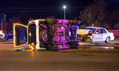 A head-on crash briefly shut down eastbound Bear Valley Road Sunday night. (Gabriel Danny Espinoza, Victor Valley News)