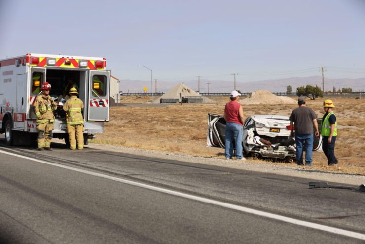 At least one person was transported to a hospital from a white sedan that was also involved in the crash with the Robertson's truck. (Gabriel D. Espinoza, Victor Valley News)