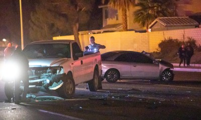 A pedestrian was hit by a car in Victorville Sunday night. (Gabriel D. Espinoza, Victor Valley News Group)