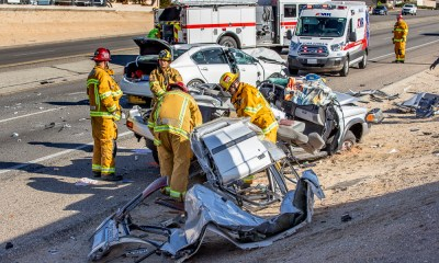 A crash shut down eastbound Highway 18 Saturday. (Hugo C. Valdez, Victor Valley News)