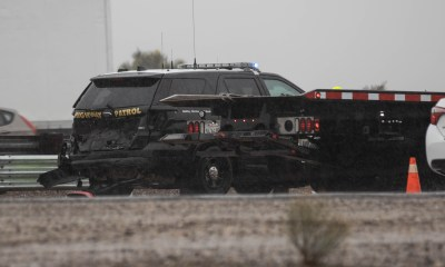 A CHP officer was injured after a car rear ended his patrol vehicle on the I-15 freeway. (Gabriel D. Espinoza, Victor Valley News)