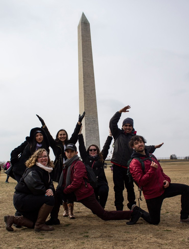 """Seven of the 16 Victor Valley College student leaders who traveled to Washington D.C. this month to attend a national leadership conference pose to spell out """"VVC"""" in front of the Washington Monument. Back, left to right: Brenda Cholula, Kimberly Aguilar, Nicole Fox, Flavio Montes. Front: Summer Robinson, Jonathan Banuelos, Fabian Guillen. (Photo: Fabian Guillen)"""