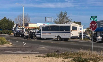 #Phelan - Both drivers were injured after a pickup truck and a city bus collided head-on Monday morning.