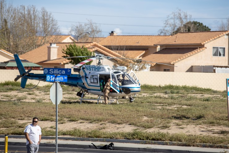 A CHP helicopter landed at the scene to airlift a patient but was later canceled. (Hugo C. Valdez, Victor Valley News)