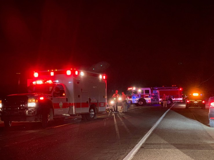 A female pedestrian was killed after she was struck by a vehicle on Phelan Road Thursday night.(Photo by Colin Opseth, for Victor Valley News)