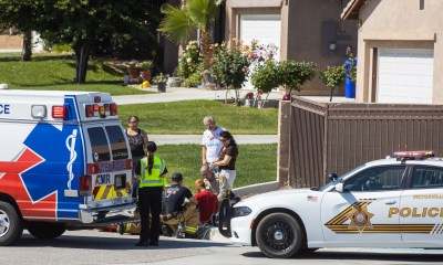 AMR paramedics treated the male at the scene before transporting.(Gabriel D. Espinoza, Victor Valley News)