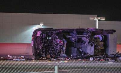 The pickup truck was shredded and mangled.(Gabriel D. Espinoza, Victor Valley News)