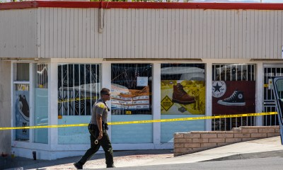 The victims blood was splattered across the windows and the concrete floor. (Gabriel D. Espinoza, Victor Valley News)