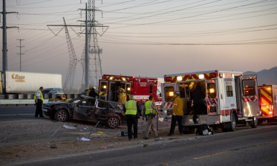 First responders preparing both accident victims to be airlifted from the crash. (Hugo C. Valdez, Victor Valley News Group)