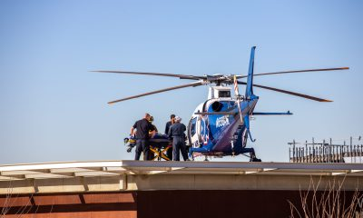 A Burrtec employee was airlifted from VVGMC in Victorville. (Gabriel D. Espinoza, Victor Valley News Group)